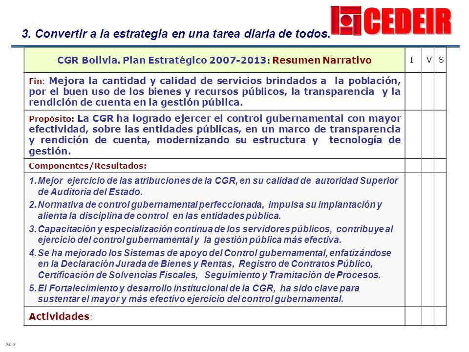 CGR Bolivia. Plan Estratégico 2007-2013: Resumen Narrativo