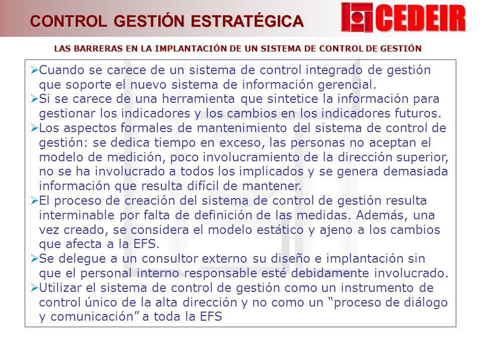 LAS BARRERAS EN LA IMPLANTACIÓN DE UN SISTEMA DE CONTROL DE GESTIÓN
