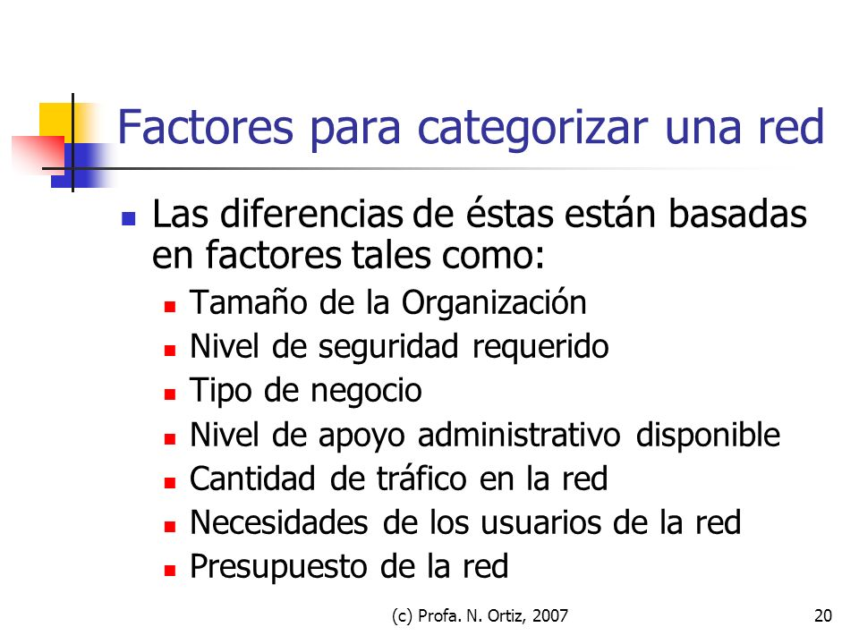 Factores para categorizar una red