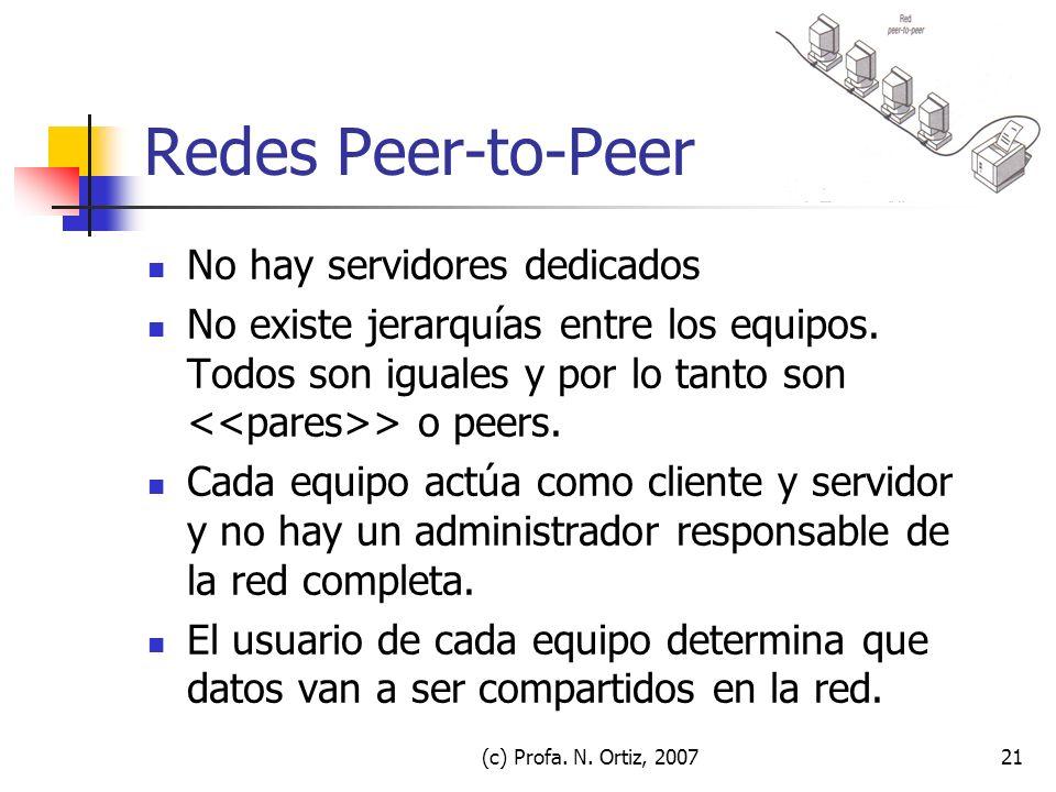 Redes Peer-to-Peer No hay servidores dedicados