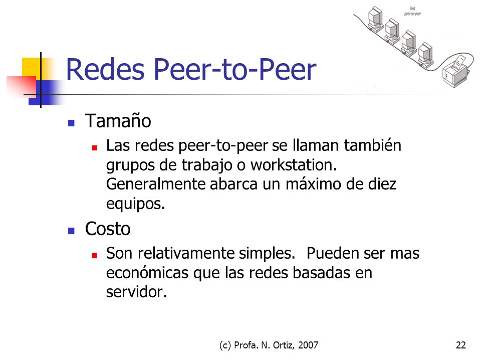 Redes Peer-to-Peer Tamaño Costo