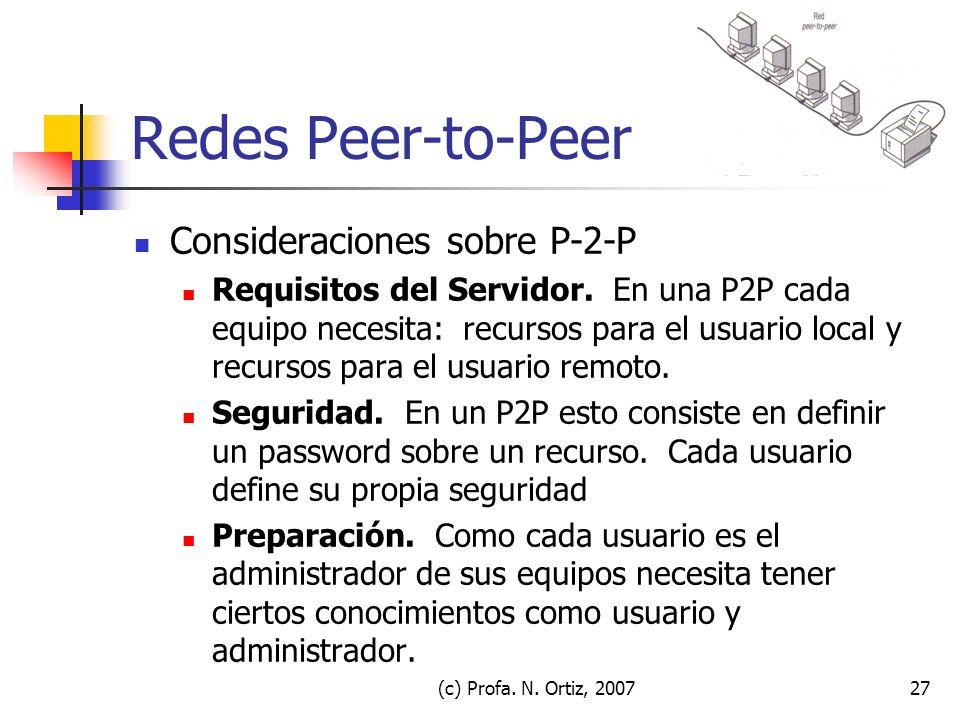 Redes Peer-to-Peer Consideraciones sobre P-2-P