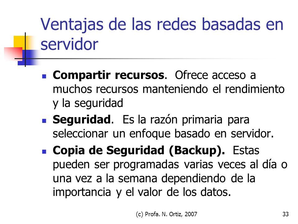 Ventajas de las redes basadas en servidor