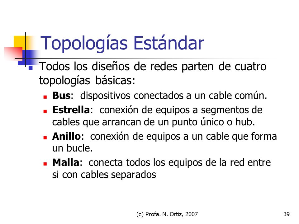 Topologías Estándar Todos los diseños de redes parten de cuatro topologías básicas: Bus: dispositivos conectados a un cable común.