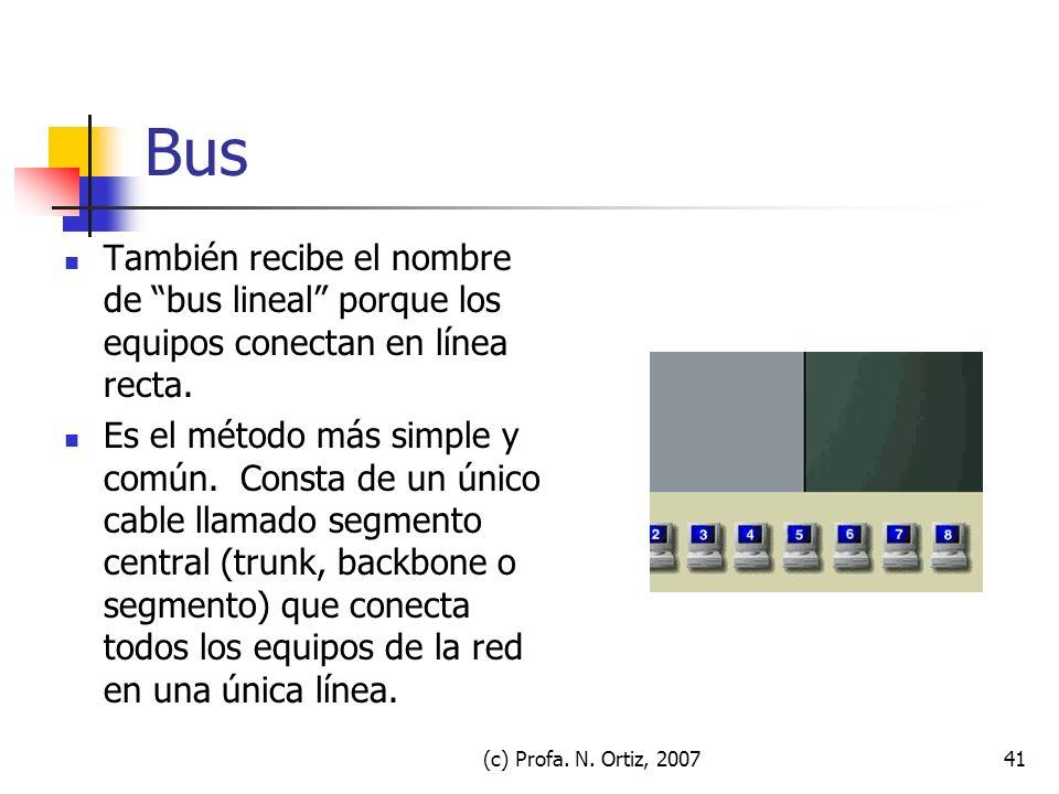 Bus También recibe el nombre de bus lineal porque los equipos conectan en línea recta.