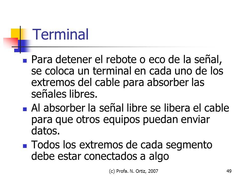 Terminal Para detener el rebote o eco de la señal, se coloca un terminal en cada uno de los extremos del cable para absorber las señales libres.
