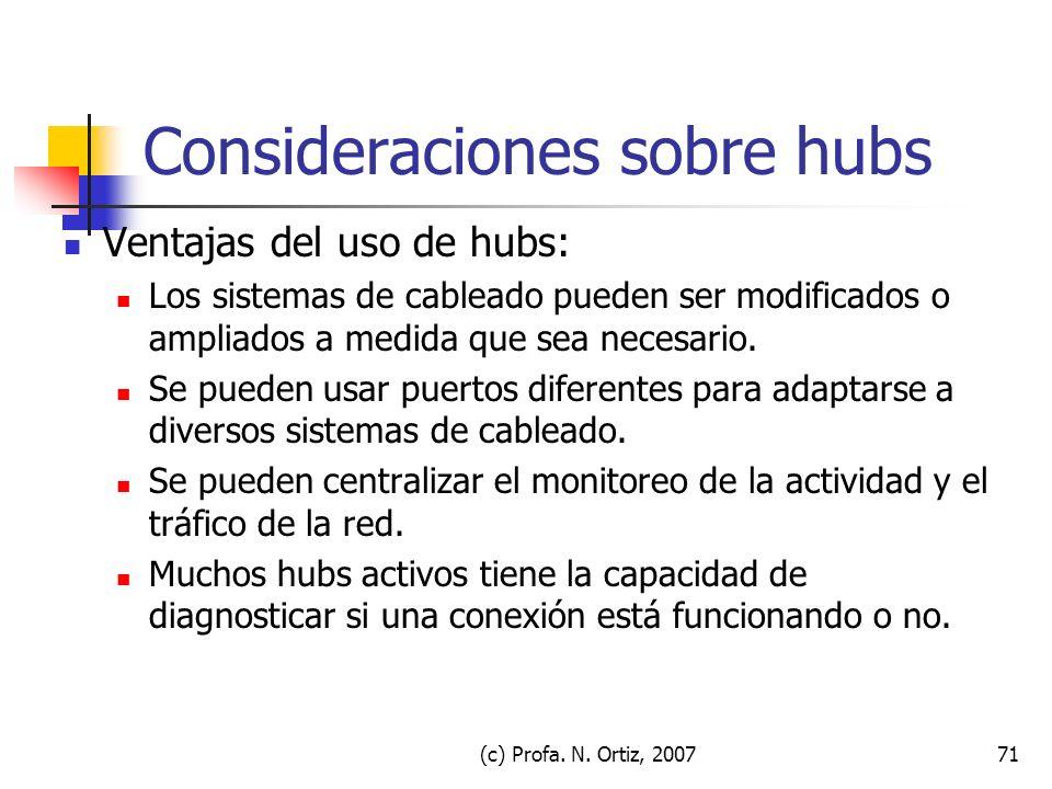 Consideraciones sobre hubs