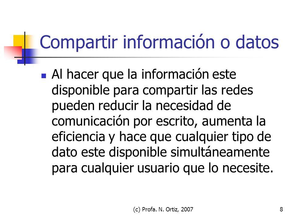 Compartir información o datos