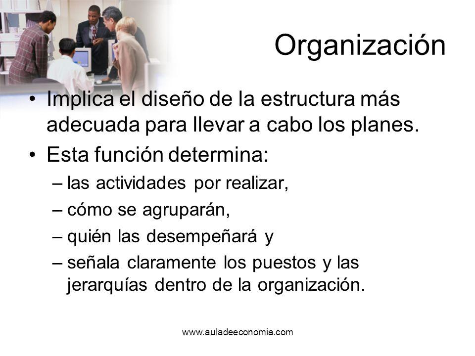 OrganizaciónImplica el diseño de la estructura más adecuada para llevar a cabo los planes. Esta función determina: