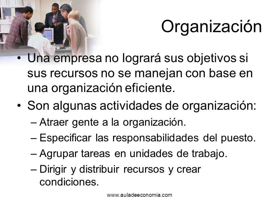 OrganizaciónUna empresa no logrará sus objetivos si sus recursos no se manejan con base en una organización eficiente.