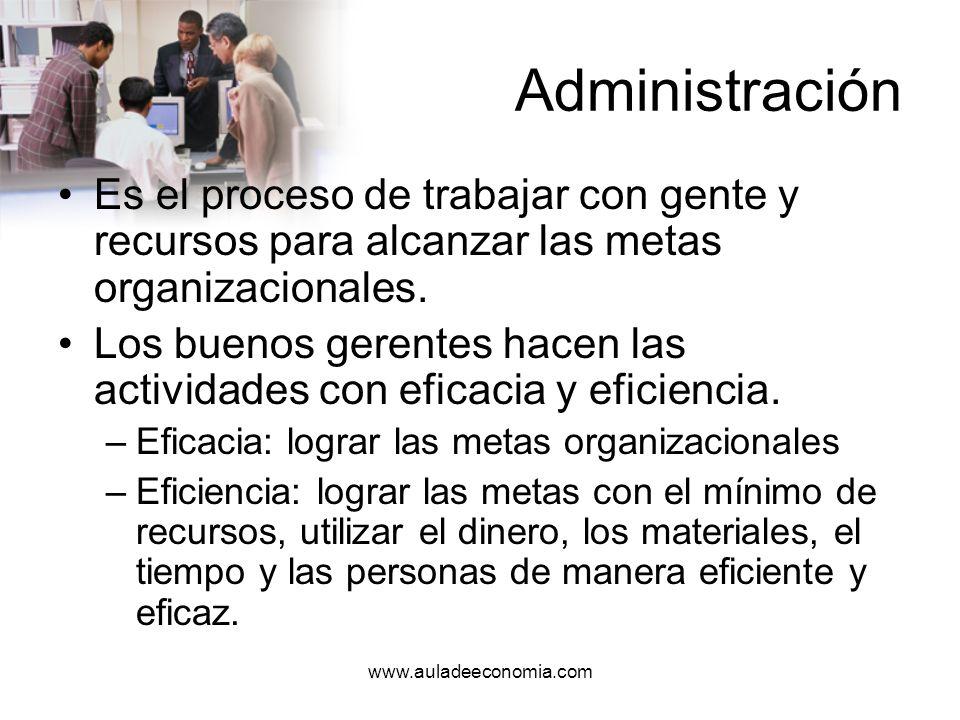 AdministraciónEs el proceso de trabajar con gente y recursos para alcanzar las metas organizacionales.