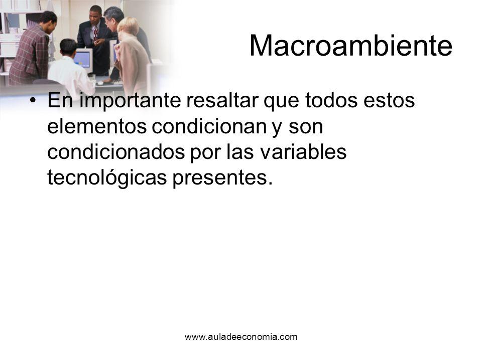 MacroambienteEn importante resaltar que todos estos elementos condicionan y son condicionados por las variables tecnológicas presentes.