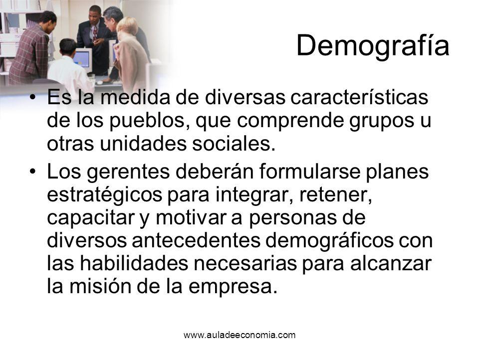 DemografíaEs la medida de diversas características de los pueblos, que comprende grupos u otras unidades sociales.