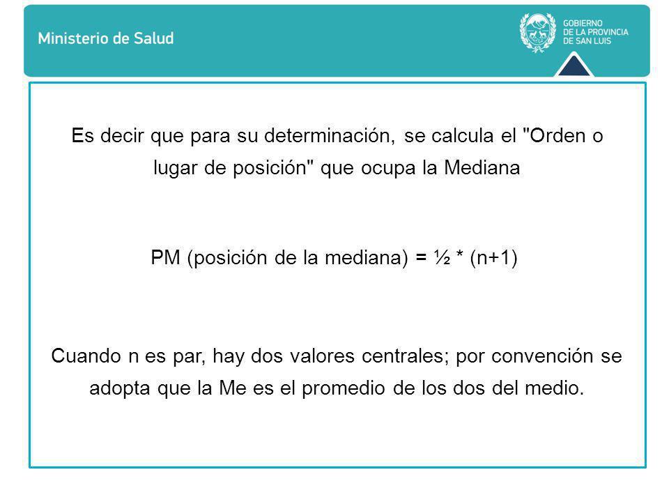 PM (posición de la mediana) = ½ * (n+1)