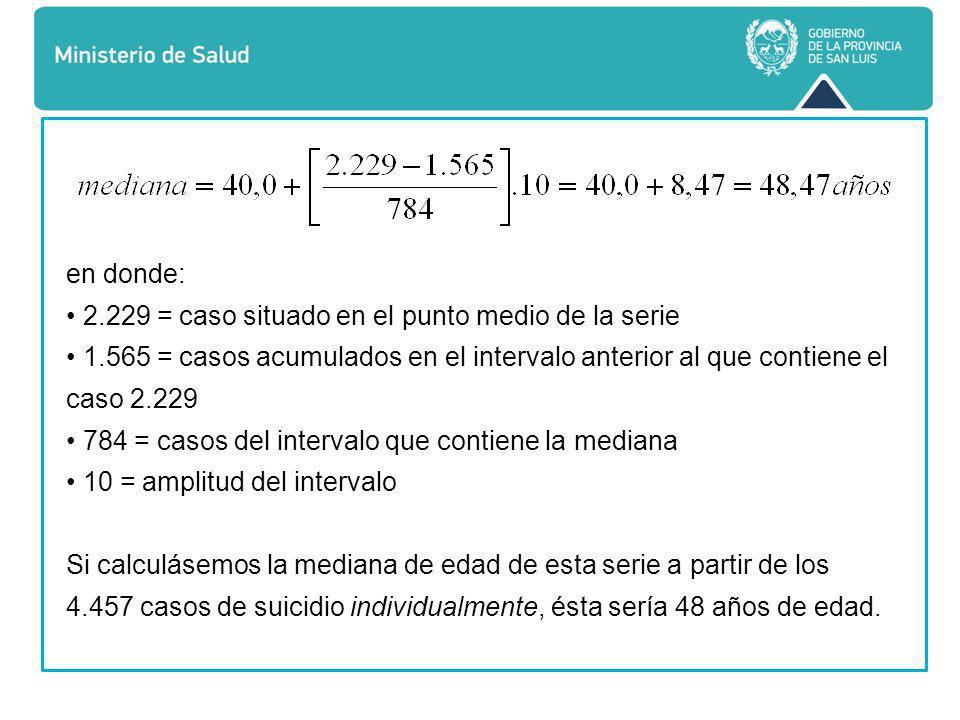 en donde: • 2.229 = caso situado en el punto medio de la serie. • 1.565 = casos acumulados en el intervalo anterior al que contiene el caso 2.229.