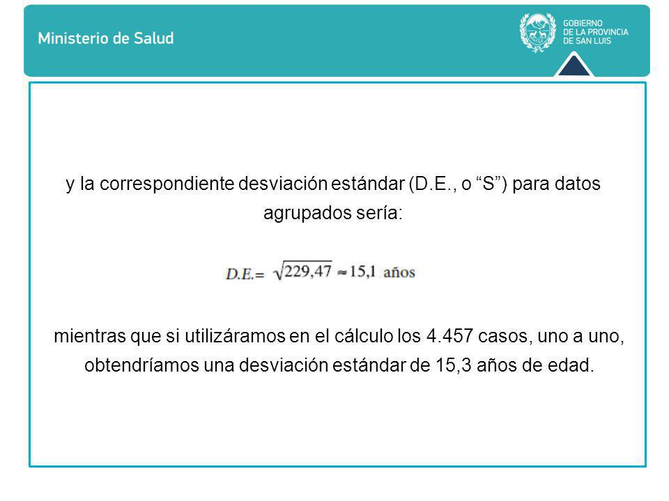 y la correspondiente desviación estándar (D. E