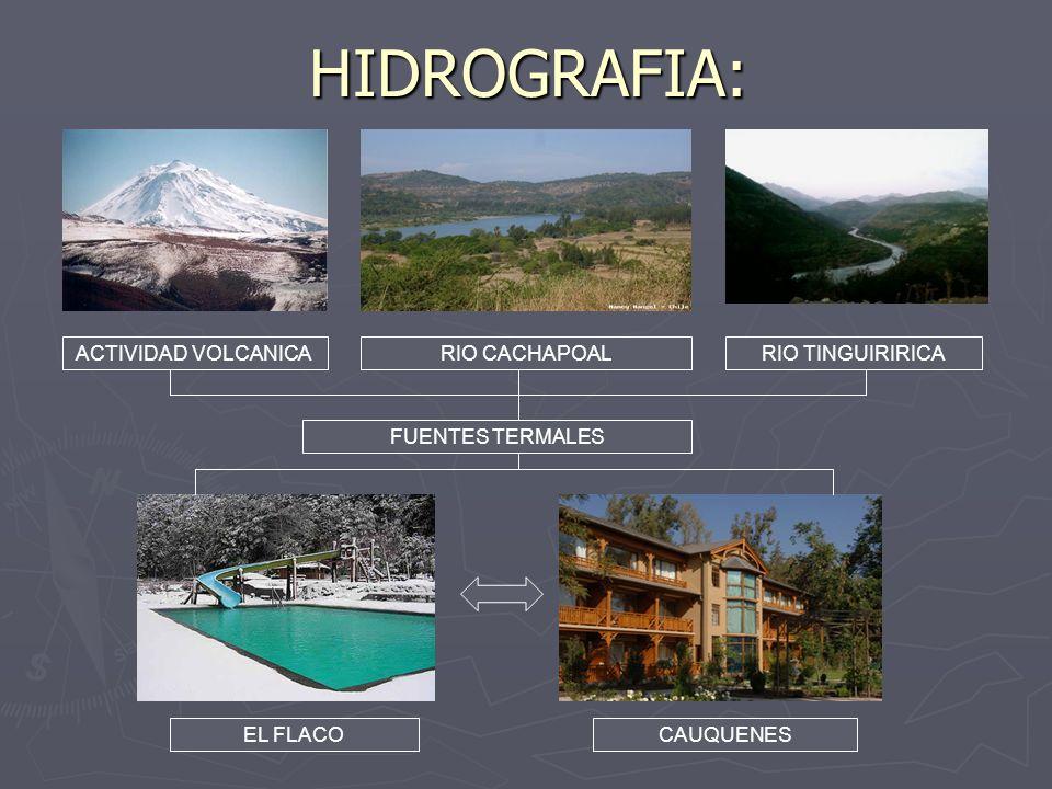 HIDROGRAFIA: ACTIVIDAD VOLCANICA RIO CACHAPOAL RIO TINGUIRIRICA
