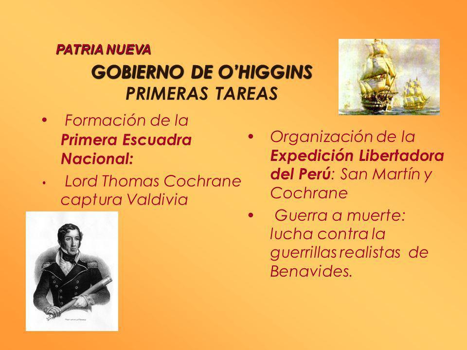 GOBIERNO DE O'HIGGINS PRIMERAS TAREAS