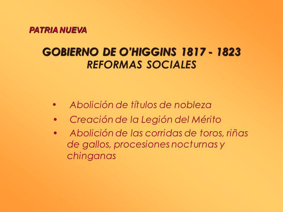 GOBIERNO DE O'HIGGINS 1817 - 1823 REFORMAS SOCIALES