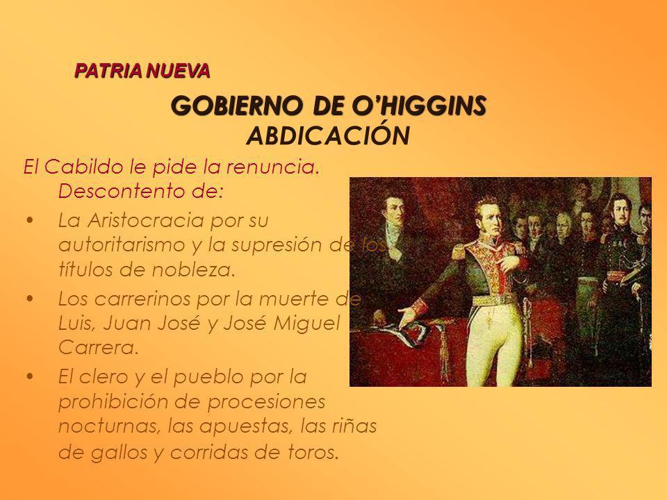 GOBIERNO DE O'HIGGINS ABDICACIÓN