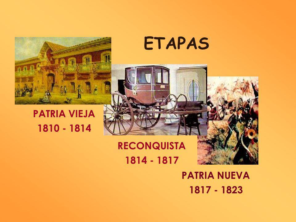 ETAPAS PATRIA VIEJA 1810 - 1814 RECONQUISTA 1814 - 1817 PATRIA NUEVA