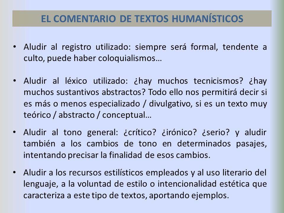 EL COMENTARIO DE TEXTOS HUMANÍSTICOS
