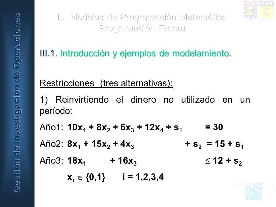 II. Modelos de Programación Matemática Programación Entera