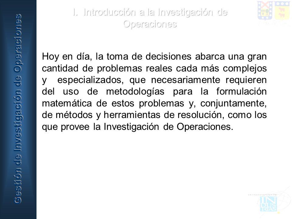 I. Introducción a la Investigación de Operaciones
