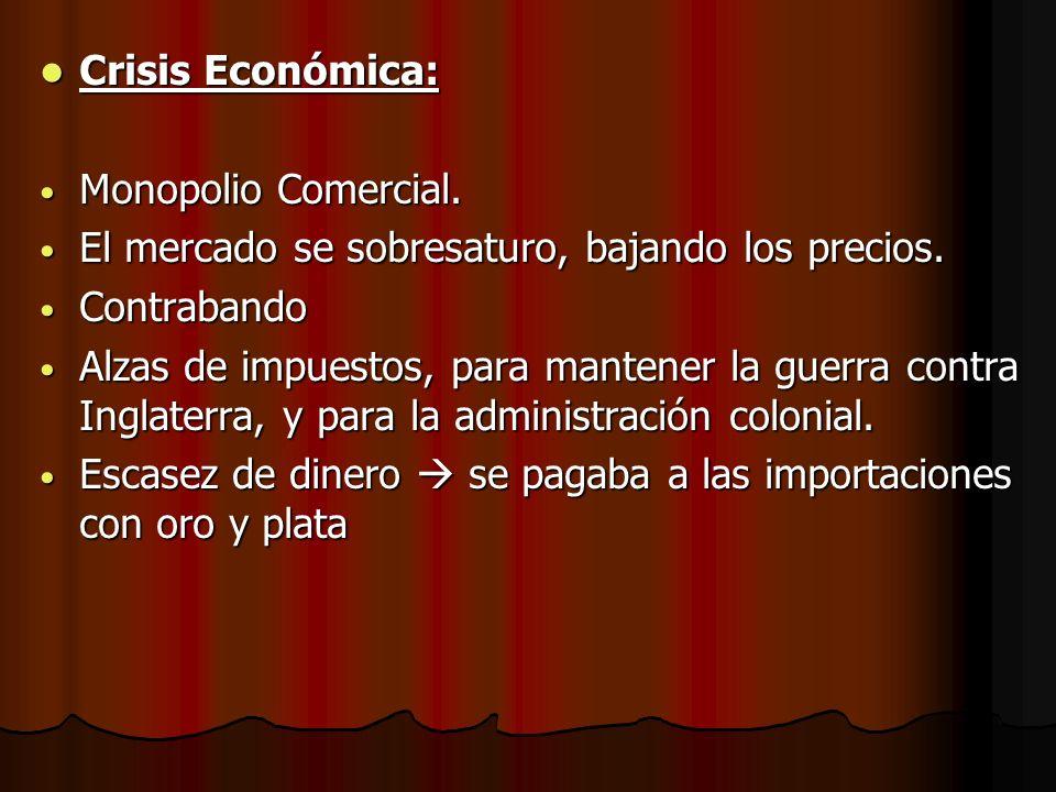 Crisis Económica: Monopolio Comercial. El mercado se sobresaturo, bajando los precios. Contrabando.