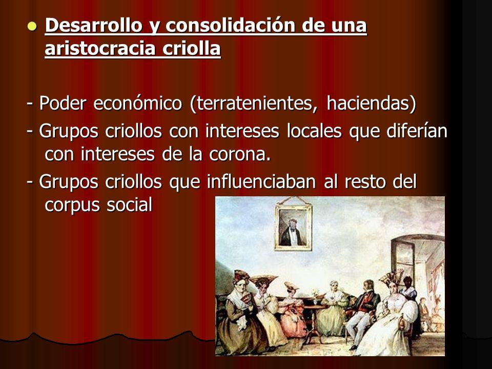 Desarrollo y consolidación de una aristocracia criolla
