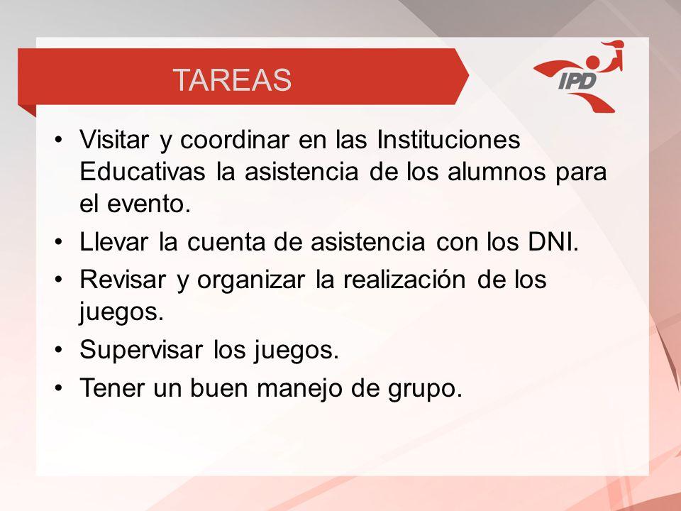 TAREAS Visitar y coordinar en las Instituciones Educativas la asistencia de los alumnos para el evento.
