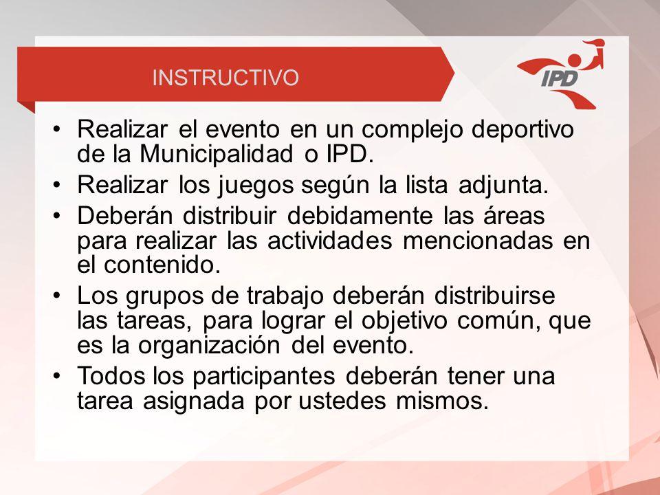 Realizar el evento en un complejo deportivo de la Municipalidad o IPD.