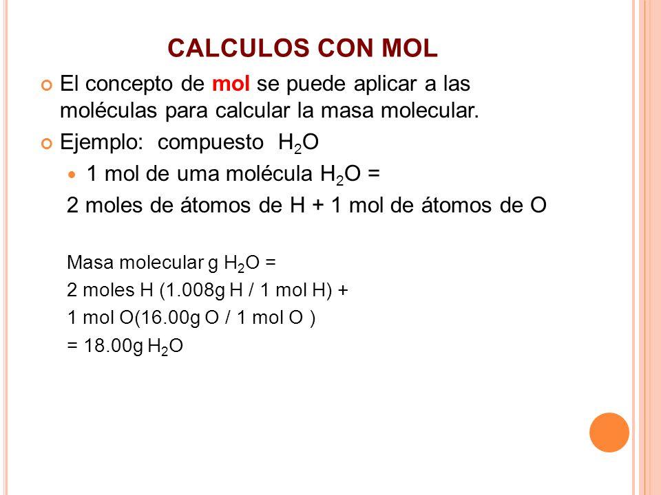 CALCULOS CON MOL El concepto de mol se puede aplicar a las moléculas para calcular la masa molecular.