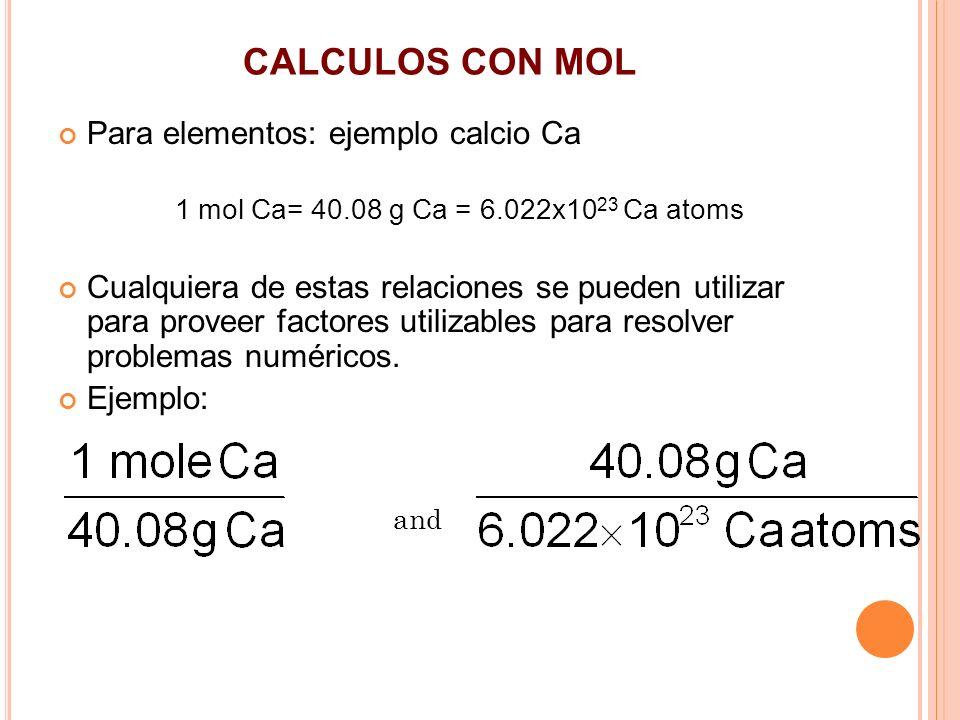 CALCULOS CON MOL Para elementos: ejemplo calcio Ca