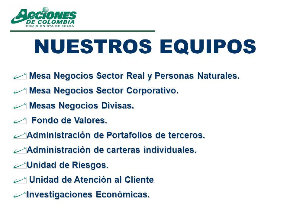 NUESTROS EQUIPOS Mesa Negocios Sector Real y Personas Naturales.