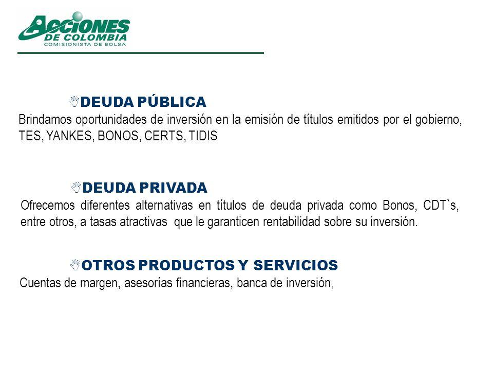 DEUDA PÚBLICABrindamos oportunidades de inversión en la emisión de títulos emitidos por el gobierno, TES, YANKES, BONOS, CERTS, TIDIS.