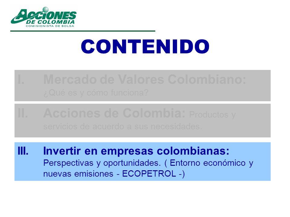 CONTENIDO I. Mercado de Valores Colombiano: ¿Qué es y cómo funciona