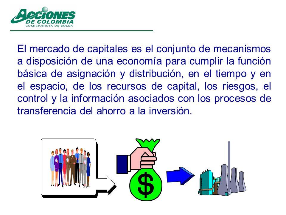 El mercado de capitales es el conjunto de mecanismos a disposición de una economía para cumplir la función básica de asignación y distribución, en el tiempo y en el espacio, de los recursos de capital, los riesgos, el control y la información asociados con los procesos de transferencia del ahorro a la inversión.