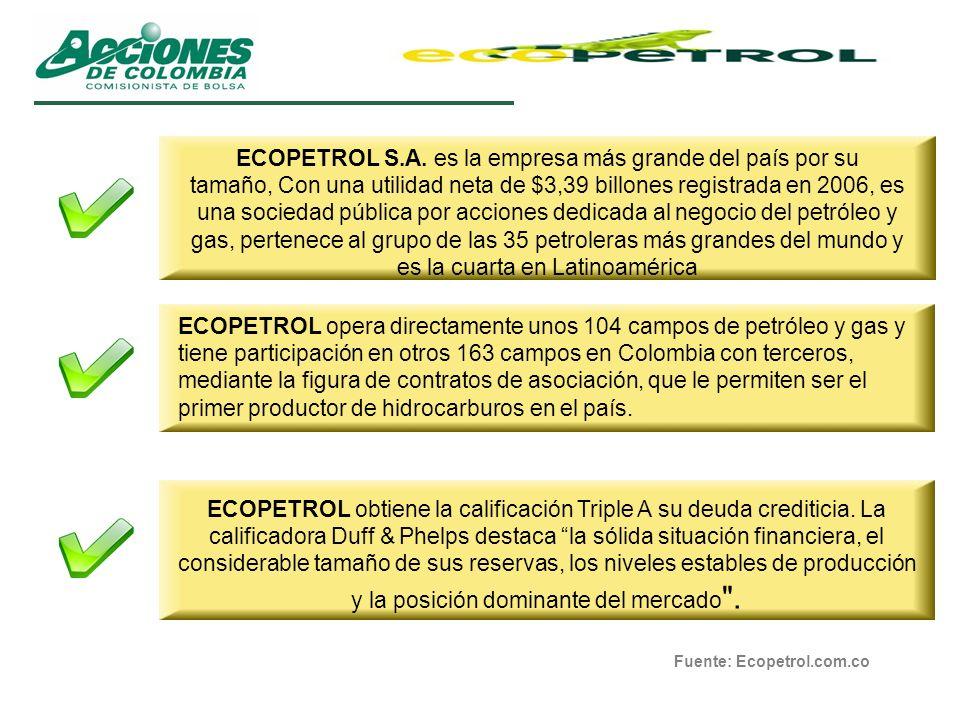 ECOPETROL S.A. es la empresa más grande del país por su tamaño, Con una utilidad neta de $3,39 billones registrada en 2006, es una sociedad pública por acciones dedicada al negocio del petróleo y gas, pertenece al grupo de las 35 petroleras más grandes del mundo y es la cuarta en Latinoamérica