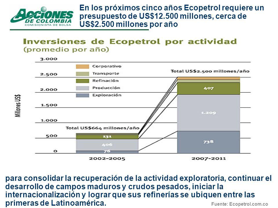 En los próximos cinco años Ecopetrol requiere un presupuesto de US$12