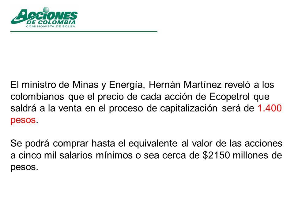 El ministro de Minas y Energía, Hernán Martínez reveló a los colombianos que el precio de cada acción de Ecopetrol que saldrá a la venta en el proceso de capitalización será de 1.400 pesos.