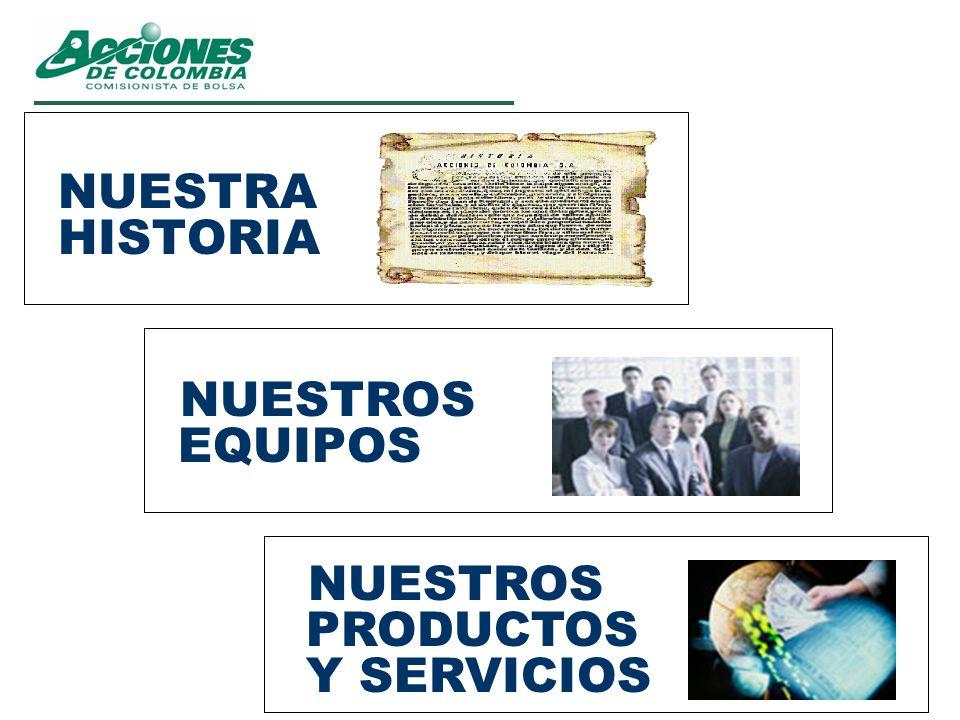 NUESTRA HISTORIA NUESTROS EQUIPOS NUESTROS PRODUCTOS Y SERVICIOS