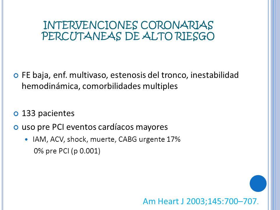 INTERVENCIONES CORONARIAS PERCUTANEAS DE ALTO RIESGO