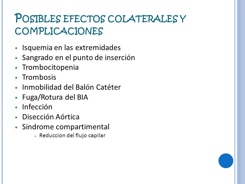 Posibles efectos colaterales y complicaciones
