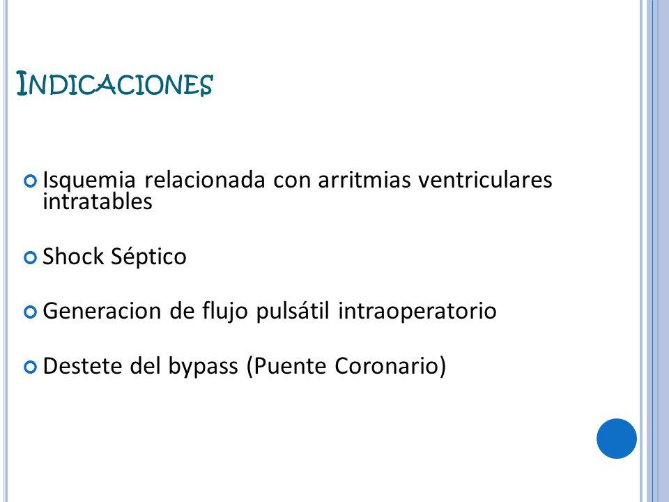 Indicaciones Isquemia relacionada con arritmias ventriculares intratables. Shock Séptico. Generacion de flujo pulsátil intraoperatorio.