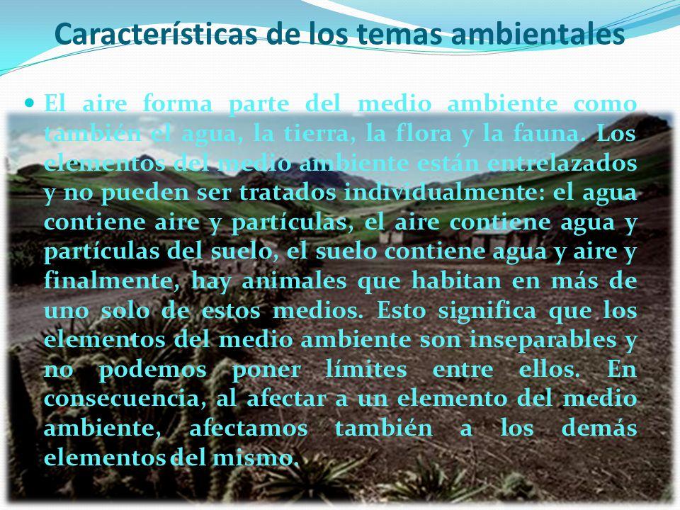 Características de los temas ambientales