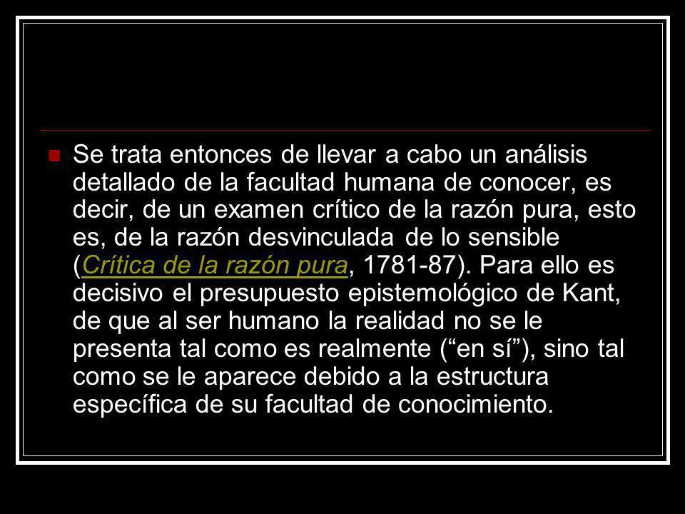 Se trata entonces de llevar a cabo un análisis detallado de la facultad humana de conocer, es decir, de un examen crítico de la razón pura, esto es, de la razón desvinculada de lo sensible (Crítica de la razón pura, 1781-87).