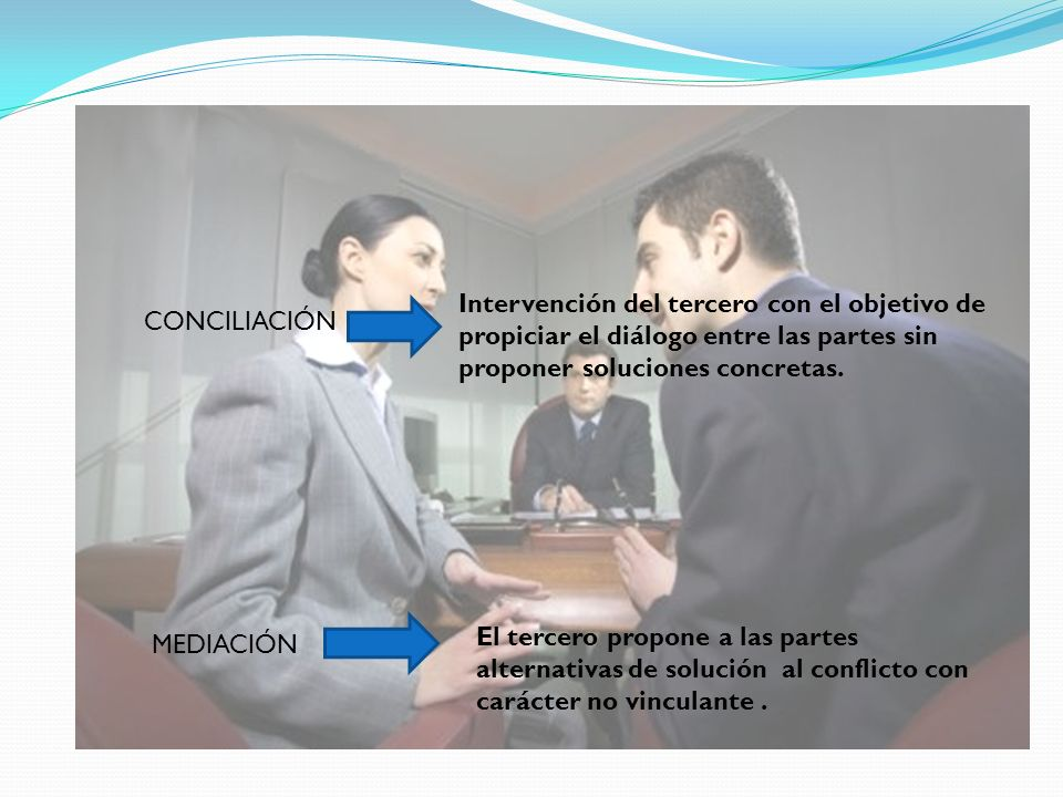 Intervención del tercero con el objetivo de propiciar el diálogo entre las partes sin proponer soluciones concretas.