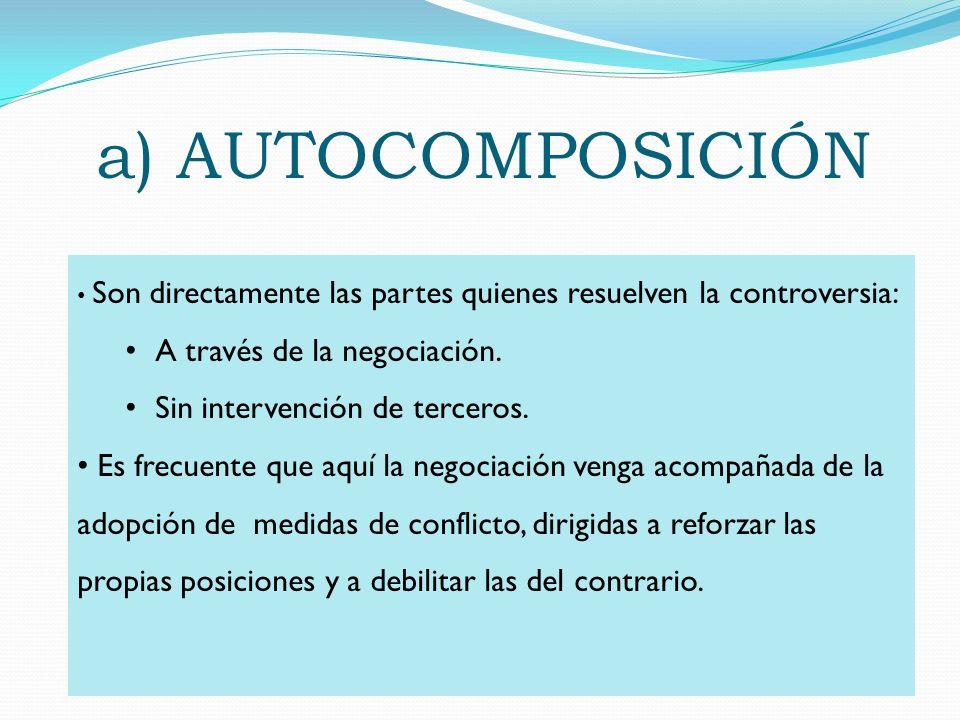 a) AUTOCOMPOSICIÓN A través de la negociación.