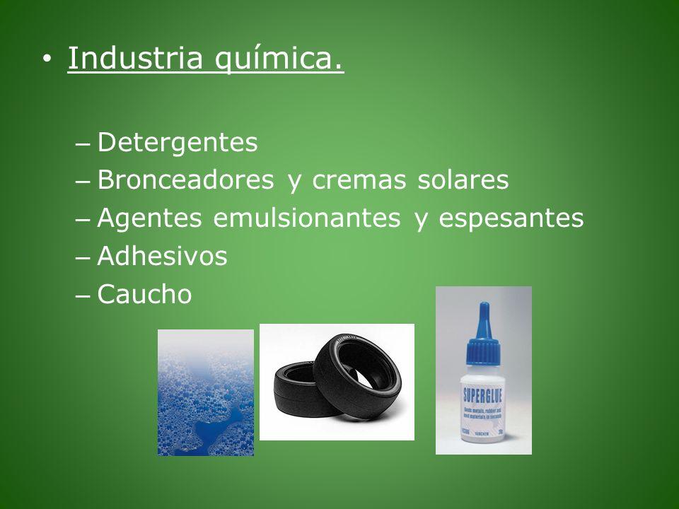 Industria química. Detergentes Bronceadores y cremas solares